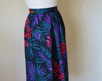 Vintage Floral Rayon Spring Skirt Purple Red Teal Black Yellow Size Small 90s Fashion