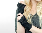Black Lace Gloves, Fingerless Gloves, Short Fingerless Gloves, Wedding Gloves, Party Gloves Bridal Gloves Tattoo Cover Up Boudoir Burlesque
