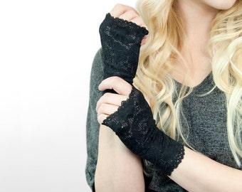 Black Lace Gloves, Fingerless Gloves, Short Fingerless Gloves, Wedding Gloves, Party Gloves Bridal Gloves Tattoo Cover Up Boudoir Burlesque