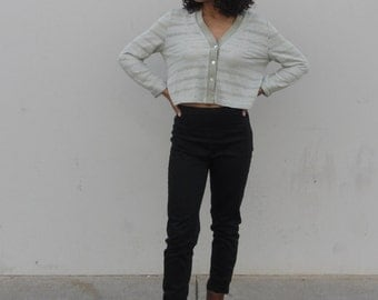 90s green cropped cardigan Button up crop top Long sleeve mesh top Womens minimalist crop top