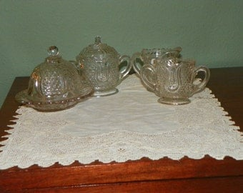 Ask for 30% off EAPG Antique  Federal Glass Company Childs Set Tulip and Honeycomb Honeycomb Butter sugar creamer