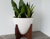 Vaughn Planter - Mid Century Inspired Bullet Planter - Porcelain and Walnut Frame