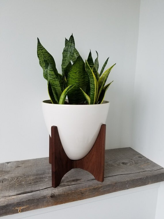 Vaughn Planter - Mid Century Inspired Bullet Planter - Porcelain and Walnut Frame