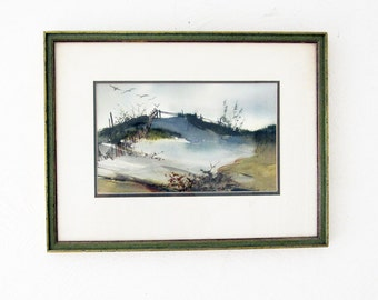 Jane Carlson 1970's Original Watercolor Sand Dunes Framed