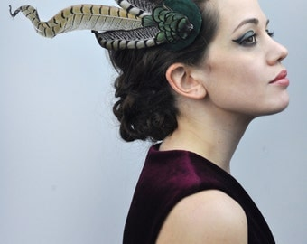 Feather Fascinator in Emerald Velvet with Gold and Black Feathers