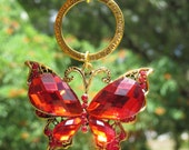 REGAL RED BUTTERFLY Tree Jewelry Christmas Ornament Cross Lamp Jewelry Blue
