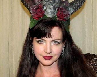 EVIL CROWN Pure Black Demon Devil Horns Spider Headdress Hair Adornment ooak