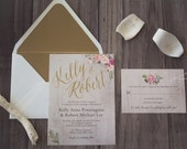 Rustic Wedding Invitation - Floral Wedding Invite - Wood Wedding Invite - Rustic Wedding - Shabby Chic