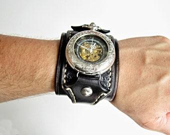 Steampunk Pocket Watch, Wrist Watch, Vintage Black