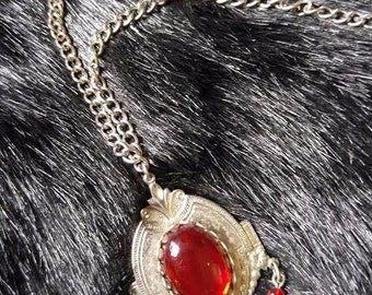 Gothic art nouveau necklace with red stones