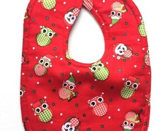 Owl bib - Christmas bib - holiday bib - boy bib - girl bib - Xmas bibs - toddler bibs - baby's first Christmas - gender neutral baby - gifts