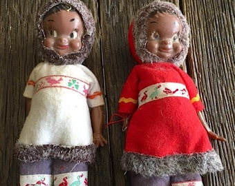 ON SALE - Antique Eskimo Dolls - 2 RARE Vintage Eskimo Dolls - Collectible Eskimo Dolls - Small Eskimo Dolls