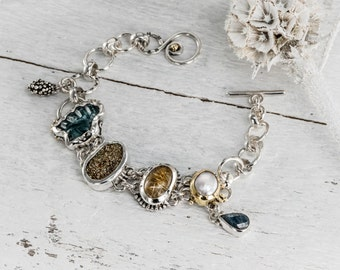Handmade Bracelet, Silver Bracelet, Natural Gemstones, Fine Jewelry, 22k Gold bracelet, Stone Bracelet, Pearl Bracelet, Treasure Bracelet,