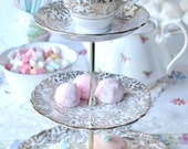 Lovely 3 tier cake stand / cupcake stand: gold and white English bone china tiered display stand perfect for a wedding