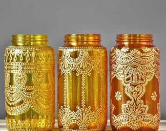 Bohemian Vase, Wedding Table Top Decor, Choose One of Three Mason Jars with Moroccan Inspired Gold Detailing