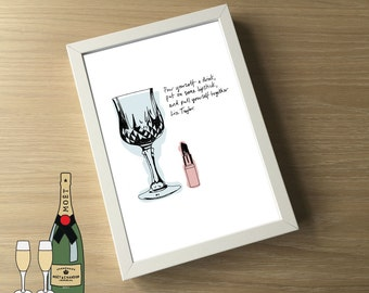 Liz Taylor  - A4 Illustration Print - Elizabeth Taylor Quote - Positivity - Wine and Lipstick - Girl Power - Fashionista - Mothers Day Gift