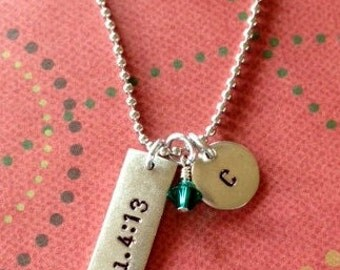 Personalized verse initial necklace with birthstone or freshwater pearl.  Great for gifts!