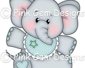 Digi Stamp  Baby Edwin  - Birthday, Elephant, New Baby, Baby boy, Party Invitations etc