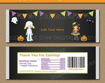 Girl Halloween Party Favors - Printable Halloween Candy Wrappers - DIY Halloween Birthday Favors - Halloween Chalkboard Party Favors HCBK