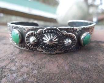 Sterling Silver Cuff Bracelet Native American Indian Green Turquoise Journey Storyteller