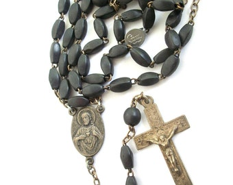 French Wooden Rosary  ~ Vintage  ~  Catholic ~ Beautiful ~ Made in France ~ Early 1900's / 1920's era