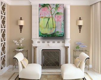home decor floral art contemporary art abstract flowers art & collectables pink flower abstract wall art large acrylic art by cheryl wasilow