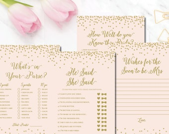 Bridal Shower Games blush gold glitter Mia BR70 Printable - Instant Download