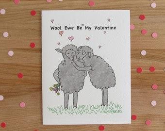Wool Ewe Be My Valentine // Sweet Sheep Valentine's Day Card // black or white sheep