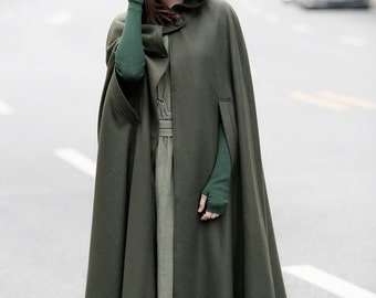 Maxi Hooded Wool Coat Cloak, 100% Cashmere, Maxi Cashmere Cape, Hooded Cape, Wool Hooded Cloak In Green,Black, Grey,Long Wool Jacket, Winter