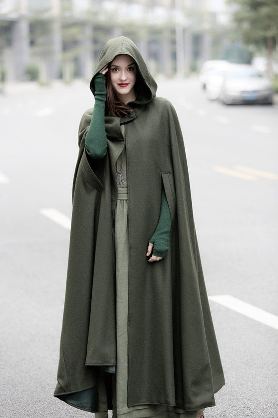 Maxi Hooded Wool Coat Cloak Maxi Cashmere Cape Hooded Cape