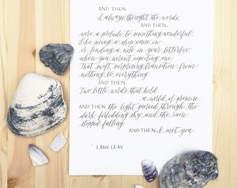 Lang Leav Calligraphy Quote Poem