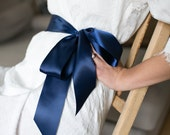 "Colored Satin Sash for White Lace Robe. Colors-White, Champagne, Navy, Pink, Black, Purple, Blue, Turquoise. 2.25"" Double Sided Satin Ribbon"