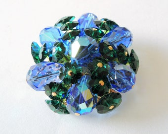 Vendome Glass Crystal Brooch Faceted Aurora Borealis Crystals, Iridescent Blue Crystal Beads, Green Flower Crystal Beads, Gold Filigree Back