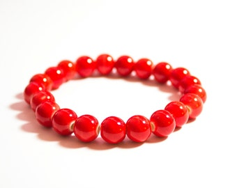 Retro Rockabilly Pinup Red Glazed Ceramic Bead Bracelet