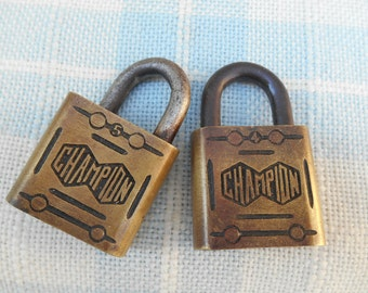 Vintage Brass Padlock Champion Lock Metal Industrial #4 or #5: Your Choice of One Lock
