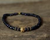 Gold Bracelet, Stretch Bracelet, Blue Stone Bracelet, gemstone Bracelet, Beaded Bracelet, Stacking Bracelet, Boho Bracelet, Tribal Btracelet