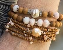 Pearl Bracelet, Opal Bracelet, Stretch Bracelet, Beaded Bracelet, Baroque Pearl Bracelet, Stack Bracelet, Pink Opal Bracelet, Boho Bracelet