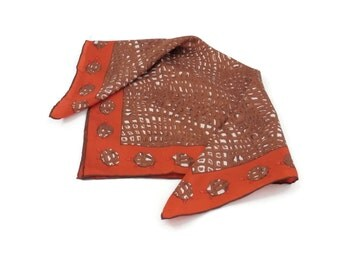 Turtle Print Silk Scarf with Hand Rolled Edges Burnt Orange and Brown