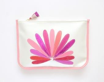 SALE / Large leather clutch bag. Statement purse. Minimalist clutch bag. Shoulder purse. Metallic natural leather. /BIG SUPERSTAR 4