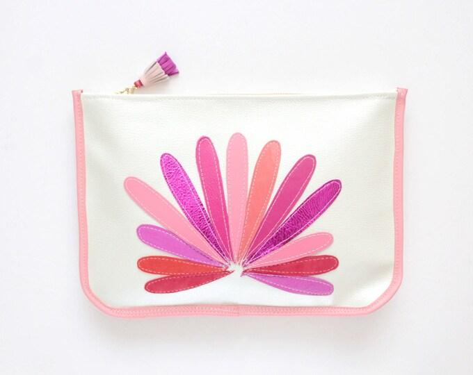 Large leather clutch bag. Statement purse. Minimalist clutch bag. Shoulder purse. Crossbody bag. Metallic natural leather. /BIG SUPERSTAR 4