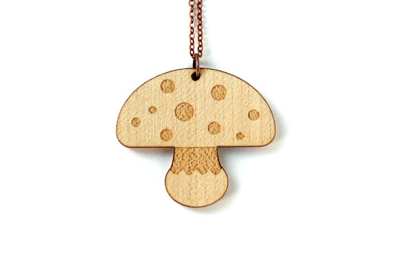 Mushroom necklace - fall pendant - autumn jewelry - lasercut maple wood - graphic jewellery - in the woods