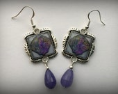 Shell Earrings 3D Picture Jewelry Beach Dimensional Purple  Silver