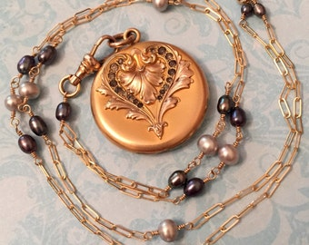 Antique Locket, Wightman and Hough Heart Motif, Peacock and Blue Pearl Chain, Wedding Jewelry, Gift for Her