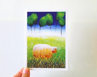 Birthday card sheep Farm animal card Blank card Happy birthday card Paper goods Baby shower card Sheep illustration Farm animal birthday