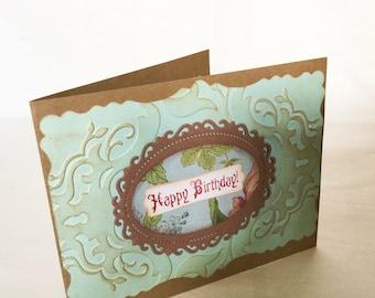 Handmade birthday card - embossed - vintage look - kraft - green - aged - unisex birthday cards - masculine birthday- hand stamped - Wcards