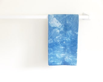 Indigo Tea Towel: Hand Dyed, Dip Dyed, 100% Cotton Tea Towel, Kitchen Towel, Dish Cloth, Hostess Gift, Shibori