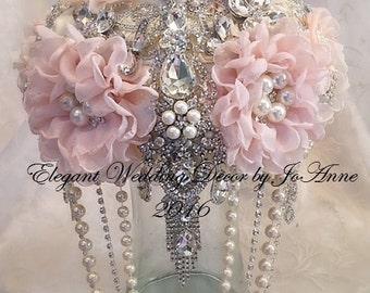 Pink and SIlver Brooch Bouquet, Custom Brooch Bouquet, Cascading Pearl Bridal Brooch Bouquet, Silver Brooch Wedding Bouquet, DEPOSIT