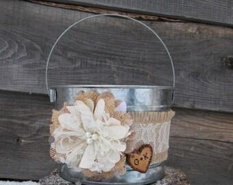 Wedding Bucket - Personalized Flower Girl Bucket - Burlap and Lace Wedding Basket - Rustic Flower Girl Basket - Wedding Basket