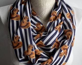Squirrel Scarf, Squirrel Infinity Scarf, Stripe Scarf, Squirrel Fashion Accessories, Gift For Her