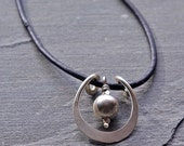 Silver Pendant Necklace, Sterling Silver Hand Forged Sterling Pendant With Leather Cord Necklace